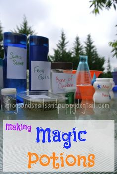 Frogs and Snails and Puppy Dog Tail (FSPDT): Magic Potions ~ Book Inspired Activity Sensory Activities, Craft Activities For Kids, Science For Kids, Sensory Play, Toddler Activities, Play Activity, Spring Activities, Activity Ideas, Kindergarten Activities