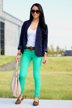 """Maytedoll: Jessica Biel """"Get the same look for less"""" green jeans and leopard print loafers"""