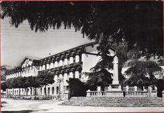 Una imatge de les escoles amb el monument als caiguts i els dos pins. Anys 50(?)