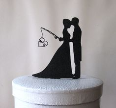 Custom Wedding Cake Topper - Hooked on Love with M&A + bride hair and groom's jacket change for Susan - pinned by pin4etsy.com