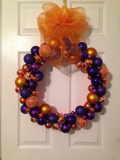 Clemson University wreath I made!!! Place your holiday, college, NFL and customizable wreaths via email traciethrift@gmail.com