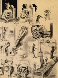 """Salvador Dali -Study for the Scenario for""""The Surrealist"""" Mystery of New York(1935)"""