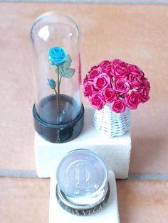 handmade Miniature basket dollhouse ミニチュア バラ