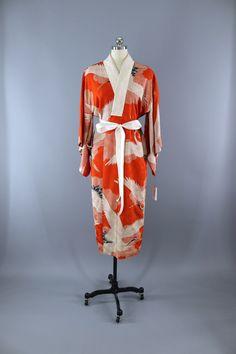 1930s Vintage Silk Kimono Robe / ORANGE Red Flying Cranes  #vintage #shopvintage