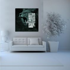 1 Piece Framed Abstract Lion Hustle Canvas Prints - 1 Piece Canvas Everyday Motivation Artwork on Wall Art for Office and Home Wall Decor Canvas Art Prints, Framed Prints, Hanging Artwork, Home Wall Decor, Interior Walls, State Art, Canvas Frame, 1 Piece, Creative Art