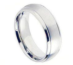 9MM Men's Wedding Engagement Anniversary Band Silver Cobalt Ring Flat Brushed Center Polished Shiny Edge Unisex Band Men Women His Hers