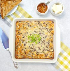 Brunch Eggs is a cheesy egg brunch dish made with bacon, mushrooms, green onions and Monterey Jack cheese. Perfect for feeding a group. Bacon Mushroom, Bacon Stuffed Mushrooms, Mushroom Recipes, Stuffed Peppers, Onion Casserole, Mushroom Casserole, Casserole Dishes, Egg Recipes, Brunch Recipes