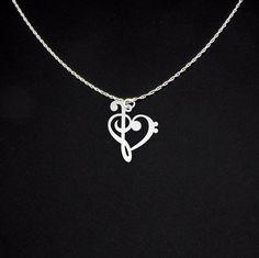 Música Nota collar - clave de FA y clave de sol corazón - plata
