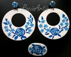 Flemish rings earrings brooch matching flowers with polymer clay, metal unifo porpia