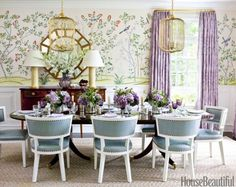 Ashley Whittaker A lovely dining room with de Gournay Chinoiserie wallpaper Jardinieres Citrus Trees, lavender curtains in Manuel Canov. Beautiful Dining Rooms, Beautiful Homes, House Beautiful, Dining Room Inspiration, Interior Inspiration, Deco Rose, Chinoiserie Wallpaper, Chinoiserie Chic, Interior Design Awards