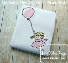 Girl with Balloon Sketch Embroidery Design by JazzyZebraDesigns