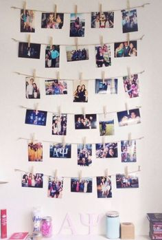 Using photos of your family and friends is a great way to decorate your dorm room on a budget!