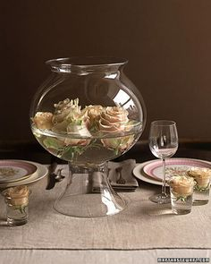 """See the """"Classic Centerpiece"""" in our Rose Wedding Centerpieces gallery Fishbowl Centerpiece, Rose Centerpieces, Fish Bowl Centerpiece Wedding, Centerpiece Ideas, Rose Wedding, Wedding Day, Wedding Reception, Wedding Stuff, Celtic Wedding"""
