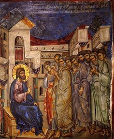Holy and Great Thursday. The Lord explains the meaning of the washing of the Apostles' feet. Early 14th c. Fresco in Vatopedi Monastery, Mt. Athos.