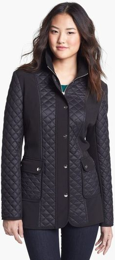 DKNY, Mixed Media Quilted Coat