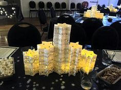 Van Goghs 'Starry Night' paper lanterns I created for my wife's 40th birthday. They are made from music sheets (her favourite songs), fanfolded and hole punched.