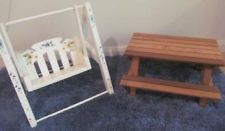 Barbie Doll Picnic Table Stand Alone Yard Porch Swing Lot Outdoor Furniture Ooak