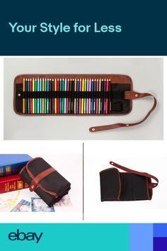 d3bbe9ae9b4a53 Canvas Leather Roll Up Pencil Case Pen Shade Pencil Bag Pluggable Pen Bag