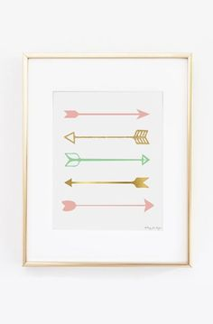 Pink Gold and Seafoam Green Arrows Art Print Design
