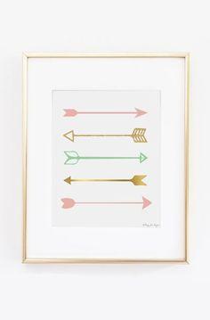 Arrows Art Print Pink Gold and Seafoam Green Arrows Art Print Arrow Print Digital Art Gold and Pink Nursery Art Tribal Arrows Art Print USD) by PennyJaneDesign Diy Nursery Decor, Diy Wall Decor, Nursery Art, Girl Nursery, Girl Room, Tribal Nursery, Nursery Ideas, Bedroom Ideas, Illustration Simple
