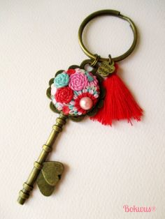 Pink Red and Ligth Blue Polymer Clay Key Keyring by Bokwus on Etsy, €8.00