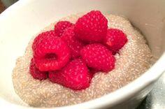 Empty the freezer challenge Week 1 coconut chia pudding with raspberries