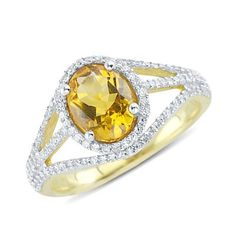 Solitaire Oval Cut Citrine Diamond Gemstone Ring In 14K White Gold    $360.00