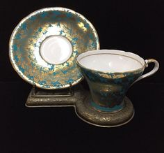 Vintage Aynsley England Cup & Saucer Turquoise Gold White #Aynsley