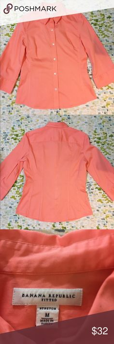Banana Republic Botton-down Shirt Fitted - 3/4 sleeves - wide end sleeves - great condition - peach color Banana Republic Tops Button Down Shirts
