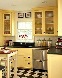 Yellow kitchen - maybe paint the cabinets instead of the walls?