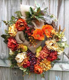 Tuscan Orange, Red, and Gold Poppy & Peony Wreath, by IrishGirlsWreaths, $169.99