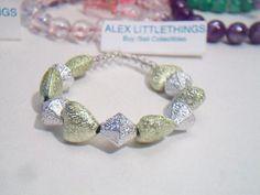 Metallic Heart Beaded Bracelet Gold Silver Bead Child Size