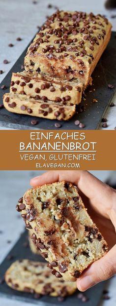 Einfaches veganes Bananenbrot mit Schokoladenchips, welches super weich, saftig und lecker ist. Das Rezept ist pflanzlich, glutenfrei, ölfrei, gesünder als die meisten Bananenbrot Rezepte und kann auch getreidefrei hergestellt werden. Es enthält insgesamt nur 10 Zutaten! #vegan #glutenfrei #bananenbrot #dessert #frühstück #schokochips | elavegan.com/de Chocolate Chip Banana Bread, Chocolate Chip Recipes, Gluten Free Chocolate, Vegetarian Chocolate, Vegan Chocolate, Chocolate Chips, Chocolate Desserts, Dessert Sans Gluten, Vegan Dessert Recipes