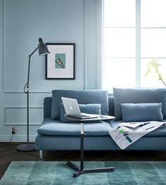 A living room with a sofa, floor lamp, hanging wall organizer and adjustable laptop stand for an efficient couch desk Living Room Plan, Living Spaces, Home Office, Room Color Design, Ikea Soderhamn, Hanging Wall Organizer, Mint Walls, Study Space, Couch