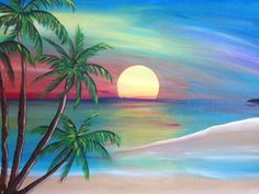 Your place to buy and sell all things handmade : Sunset Beach Painting Original Artwork by SaltedVinegarStudios Painting & Drawing, Watercolor Paintings, Original Paintings, Original Artwork, Beach Paintings, Nature Paintings, Sunset Art, Sunset Beach, Beach Sunset Painting