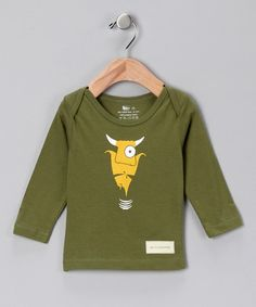 Take a look at this Olive Green Bull in a China Shop Organic Lapneck Tee - Infant by blirt shirt on #zulily today!