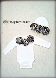Newborn Girl Take Home Outfit Baby Girl Leopard Baby Shower Gift Newborn Hat Boutique First Birthday Toddler Infant Girls Clothing One Piece via Etsy