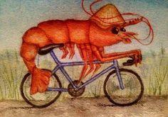 Watercolour prawn cycling