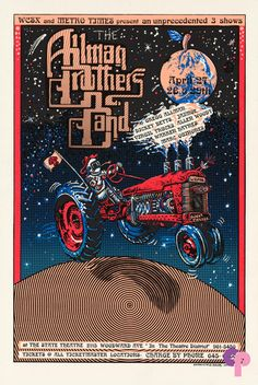 "State Theater 4/27-29/94 T The Allman Brothers at The State Theater in Detroit, Michigan    The original poster is printed on white stock and measures approximately 16"" x 24""    Artist:  Emek     Performer:  Allman Brothers"