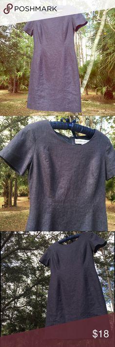 Blue grey linen? Size 2 petite    Bluish grey linen. Lined shift career dress. Dresses