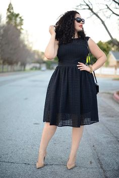 Tenesha Awasthi of Girl With Curves wears a sheer illusion A-line dress