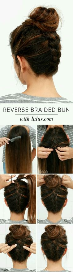 12 hairstyles and hair trends you need to try in 2018 easy messy how to do a reverse braided bun what a beautiful hairstyle idea great for second day hair or if you just need your hair off your neck for the day urmus Gallery