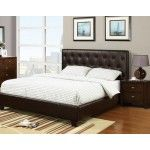 POUNDEX Furniture - Brown Faux Leather Queen Bed - F9252  SPECIAL PRICE: $499.00