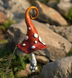 Red orange magic mushroom polymer clay toadstool Home