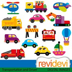 Clipart Transportation And Driver 07442 by revidevi on Etsy, $5.95