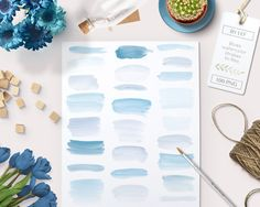 Watercolor clipart strokes banners (100 pc) blue light blue lavender aqua.painted clip art for logo design, blogs, cards printables wall art - pinned by pin4etsy.com