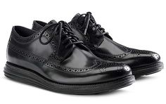 COLE HAAN LUNARGRAND LONG WING TIP [BLACK/BLACK] (C11717)