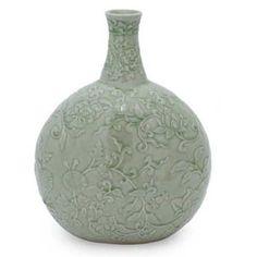 Novica Exotic Flora Celadon Ceramic Vase | World Market