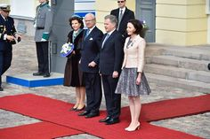 King Carl Gustaf and Queen Silvia of Sweden are welcomed by the President of Finland Sauli Niinistö and his spouse Jenni Haukio.