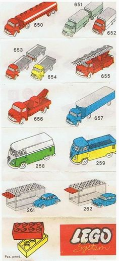 1:87 scale plastic vehicles. Part of the original LEGO System in1953-59.  superb VW transporters and Beetle. Image from the LEGO Museum in Billund